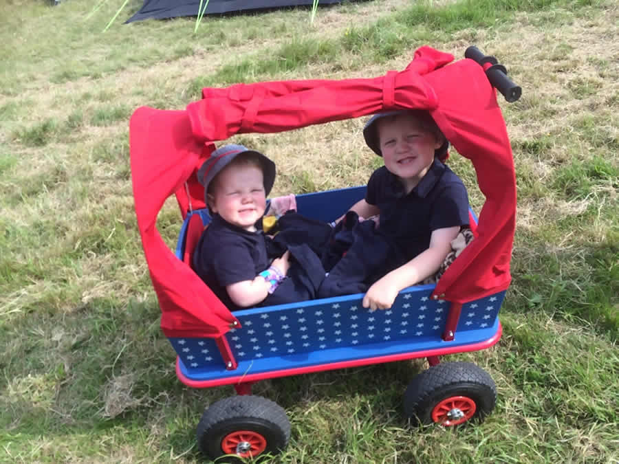 wooden trolley at IOW festival